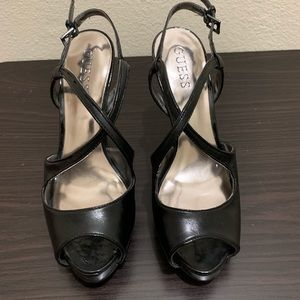 Guess black high heel shoes.